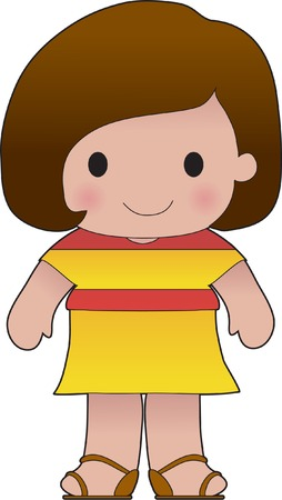 spanish flag: Little girl in a shirt with the Spanish flag on it Illustration