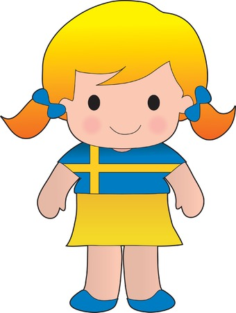 Little girl in a shirt with the Swedish flag on it Illustration