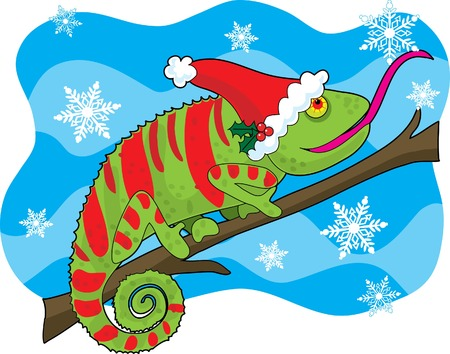 A chameleon with a Santa hat has a snowflake falling on his tongue