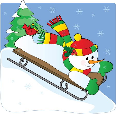 A snowman sledding down a hill with a cardinal on his foot Vector