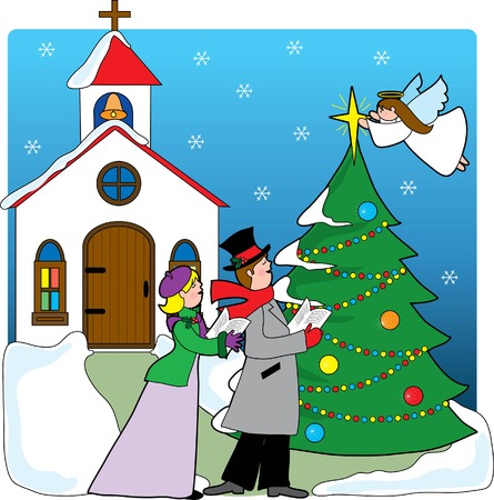 songbook: A pair of carolers singing in front of a church with a Christmas tree and angel placing a star on top of the tree