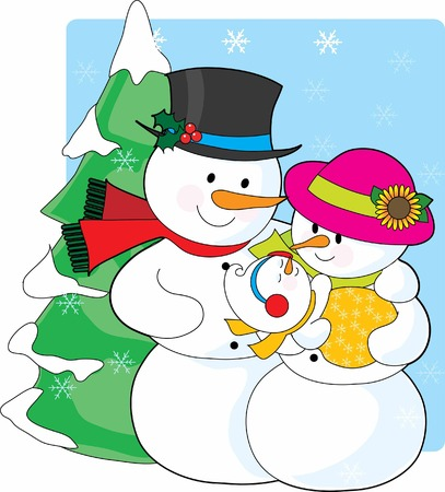 A snowman couple holding their new snaowman   Illustration