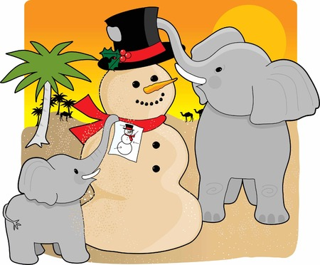 A mother elephant and  in the desert building a snowman made  of sand