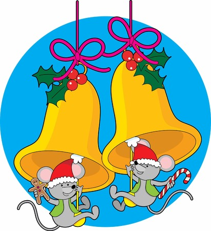 Two little mice swinging on the clappers of Christmas bells