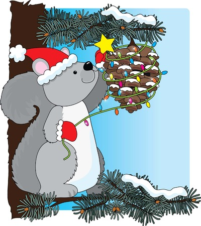 pinecone: A squirrel decorating a pinecone for Christmas Illustration