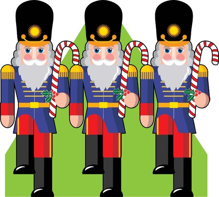 parade: Toy soldiers marching ina row holding candy canes instead of guns