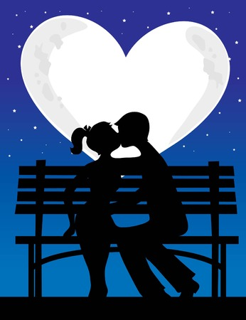 A silhouette of a couple with a heart shaped moon behind them Ilustrace