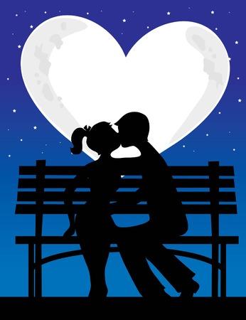 Een silhouet van een koppel met een hartvormige maan achter hen  Stock Illustratie