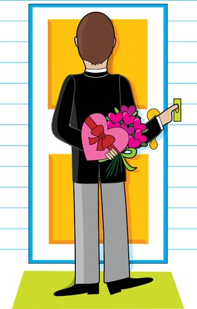 Young man standing at a doorway with flowers and candy for a date