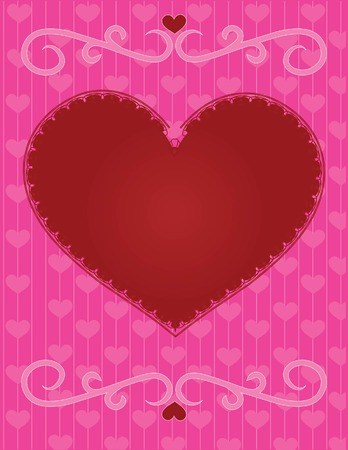 A large red heart with lace edging on a striped background