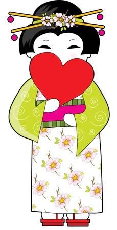 eventail japonais: Belle dame japonaise en kimono tenant un c?ur rouge, comme un ventilateur