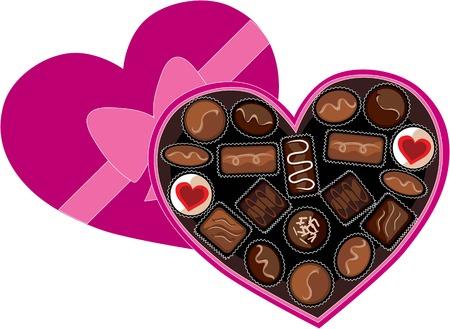 A heart shaped box full of chocolates