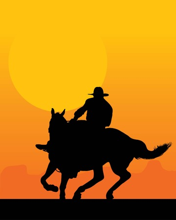 Silhouette of a lone rider against a sunset background Иллюстрация