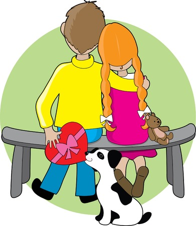 handing: A boy and girl sitting on a bench - a little dog is handing the boy a box of chocolates to give to the girl