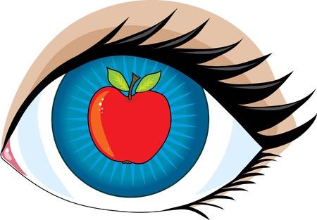 An apple in the center of an eye - the apple of my eye 向量圖像