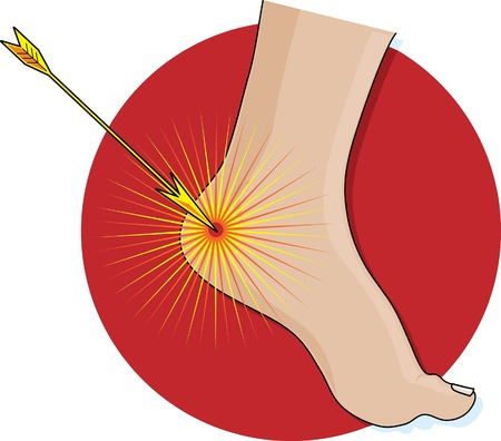 weakness: An arrow hitting an Achilles heel on a red circle background Illustration