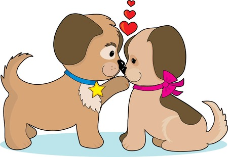 A couple of puppies cuddling, looking at each other and hearts over their heads Vector