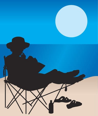 Black silhouette of a woman reading at the beach Illustration
