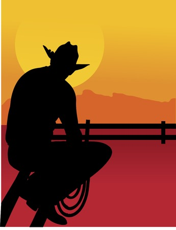 Black silhouette of a cowboy sitting on a fence looking at the sunset