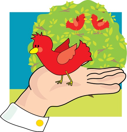 bush: A bird in hand is worth two in the bush Illustration