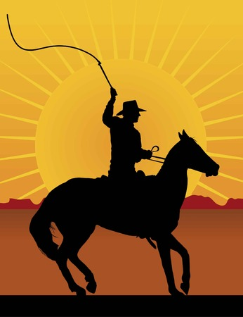Silhouette of a horsman cracking a whip with a sunset/sunrise in the background Vectores