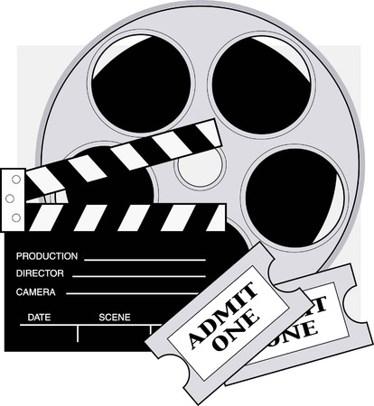 Clapboard,movie reel and admission tickets for the movies.