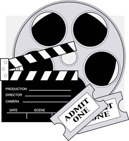 camara de cine: Clapboard, carrete de pel�cula y entradas para el cine.  Vectores