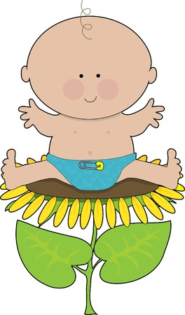 diaper pin: Baby boy in a diaper sitting on a sunflower