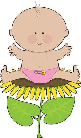 Baby girl in a diaper sitting on a sunflower Vector