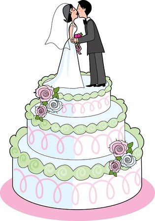 Couple kissing on top a wedding cake