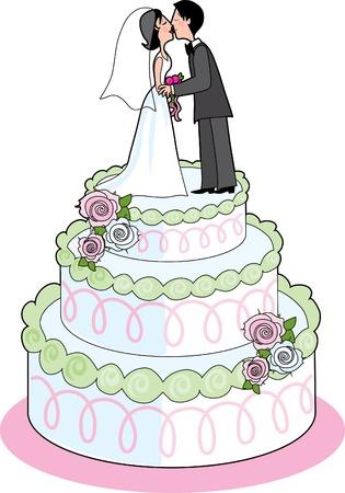 Paar kussen op de top een bruidstaart