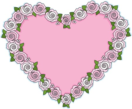 A wreath of pink roses shaped like a heart Stock Vector - 2471582