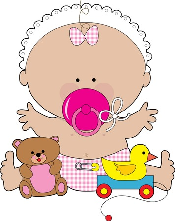 A baby girl with a huge pacifier in her mouth