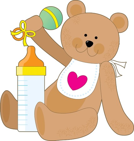 huggable: A teddy bear holding a rattle with a  bottle and a bib Illustration
