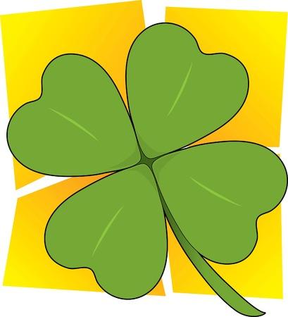four leafed clover: Un �nico tr�bol de cuatro hojas sobre un fondo cuadrado de color amarillo