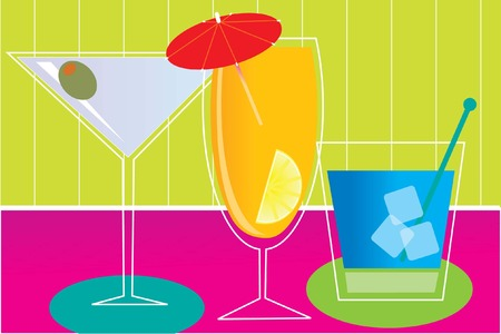 stir: Several fancy drinks on a counter in a bar Illustration