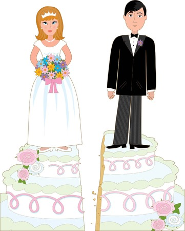 Bride and groom standing on a wedding cake that has split down the middle suggesting a divorce.
