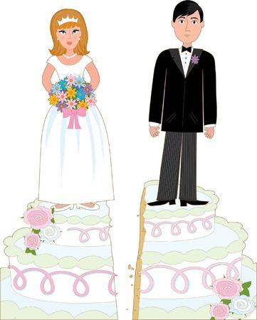 Bruid en bruidegom op een bruidstaart die is gesplitst in het midden suggereert een echtscheiding.