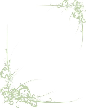 Fancy green scroll floral corners for design