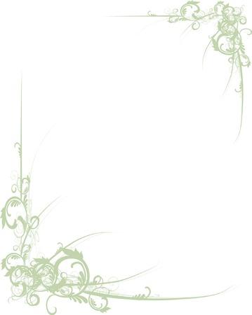 fancy border: �Te apetece desplazarse floral verde esquinas para el dise�o Vectores