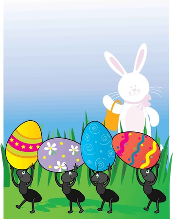 A group of ants carrying Easter Eggs while the Easter Bunny looks on