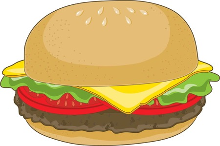 A single hamburger with cheese and tomatoes on a white background. Ilustração