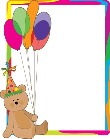 A teddy bear holding a bouquet of balloons - a colorful border surrounds the bear