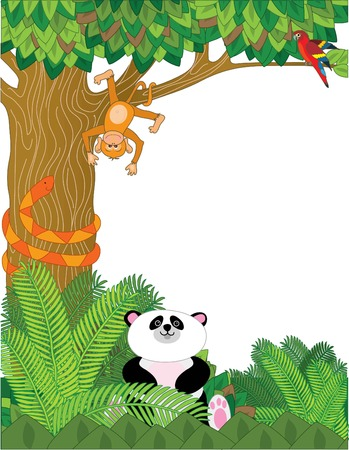 A border with zoo animals - panda,snake,orangutan,and parrot