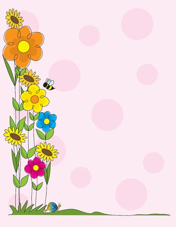 A spring garden scene as a border on a pink polka dot background