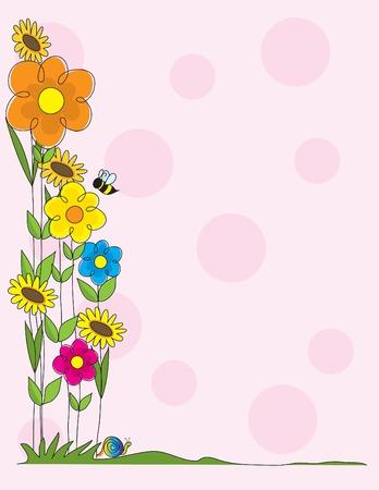 A spring garden scene as a border on a pink polka dot background