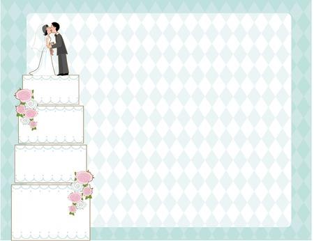 신부와 신랑과 바둑판 무늬 배경 위에 웨딩 케이크