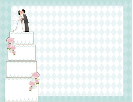 Wedding cake with bride and groom on top against a checkered background Illustration
