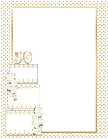 A wedding cake with the number 50 on top with a golden polka dot border