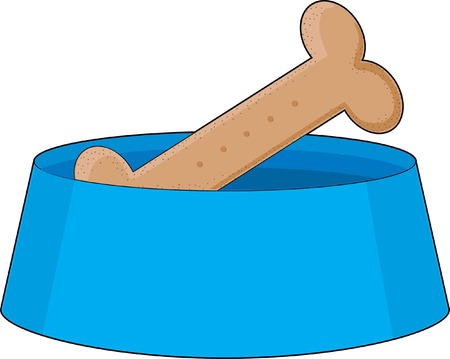 A dog bone or biscuit in a blue bowl Vectores